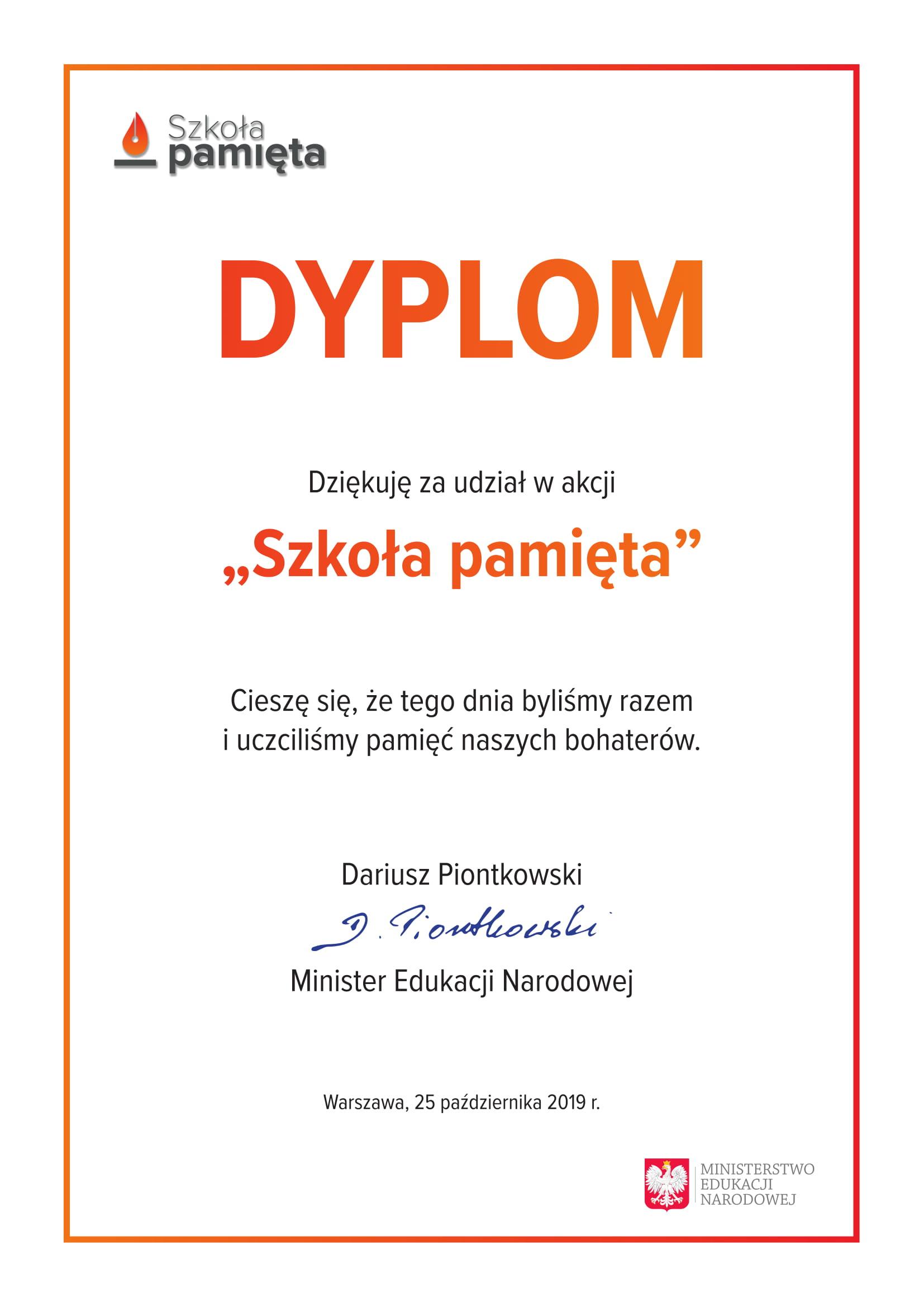 Dyplom - Szkoła pamięta
